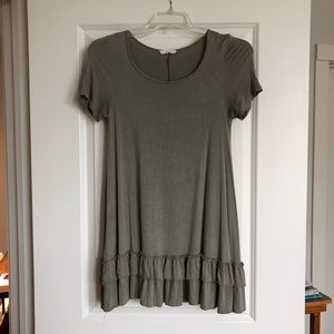 Olive Green Blouse with Ruffled Bottom